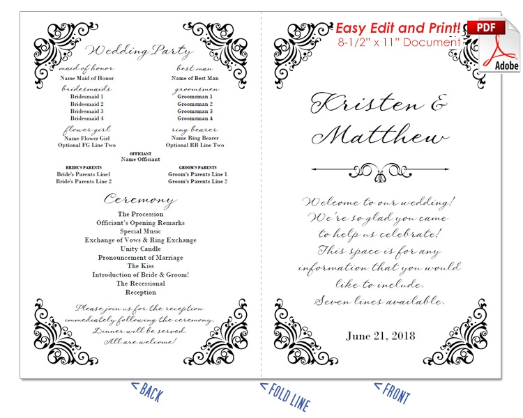 Border Scrolls 2 Wedding Program Fan -Cool Colors