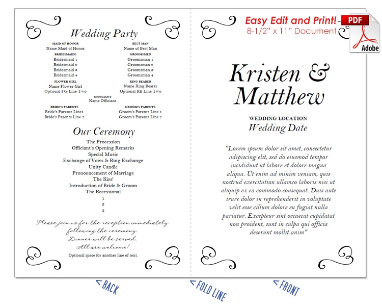 Border Scrolls 3 Wedding Program Fan -Cool Colors