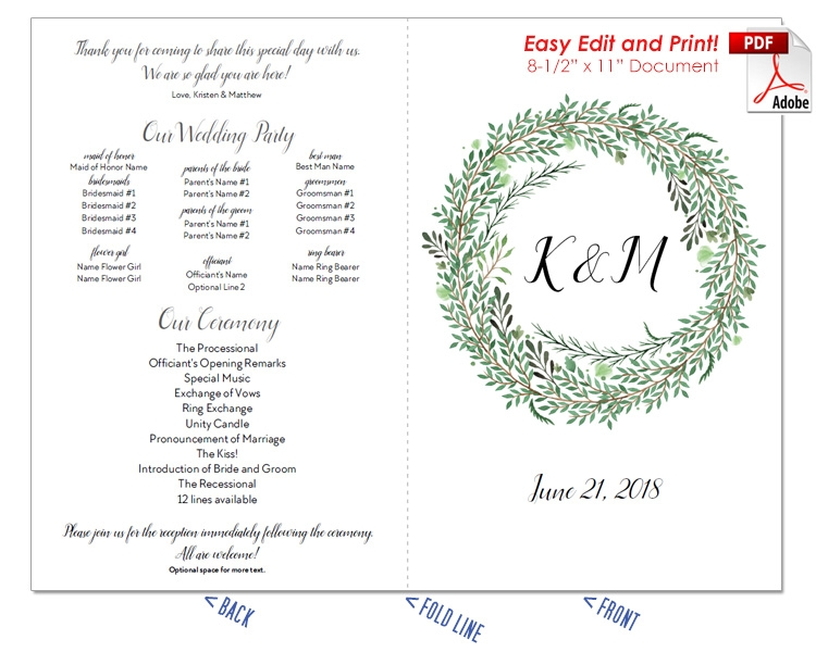 Botanical Wreath Wedding Program Fan -Cool Colors