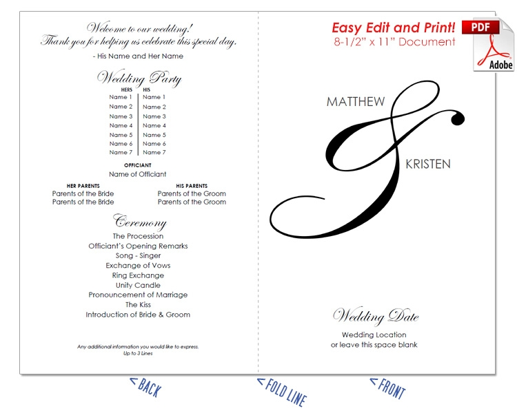 Elegant Ampersand Sans Serif Wedding Program Fan -Cool Colors