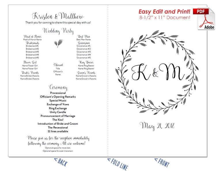 Floral Wreath Wedding Program Fan -Cool Colors