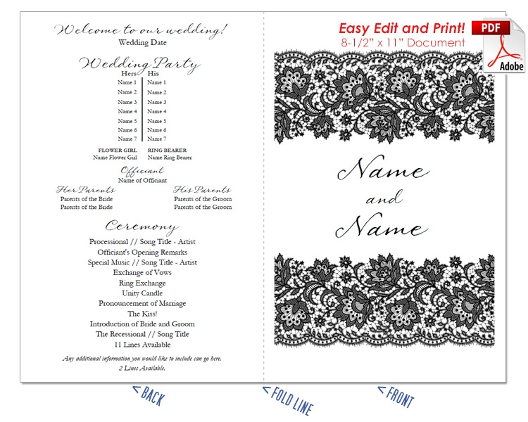 Lace 1 Wedding Program Fan -Cool Colors