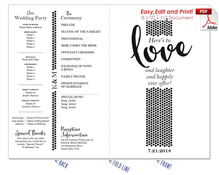 Love and Laughter Wedding Program Fan -Cool Colors