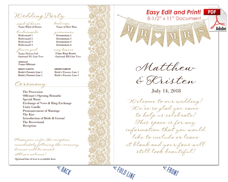 Mr and Mrs Banner Wedding Program Fan -Cool Colors