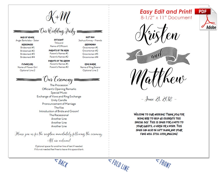Nautical Watercolor Wedding Program Fan -Cool Colors