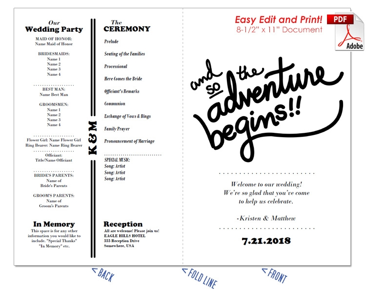 The Adventure Begins Wedding Program Fan -Cool Colors