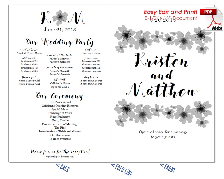 Watercolor Poppies Wedding Program Fan -Cool Colors
