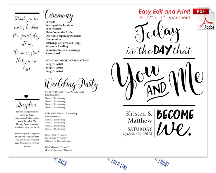 You and Me become We Wedding Program Fan -Cool Colors