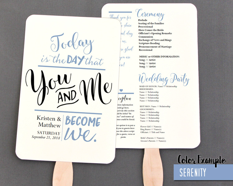 you and me become we wedding program fan cool colors