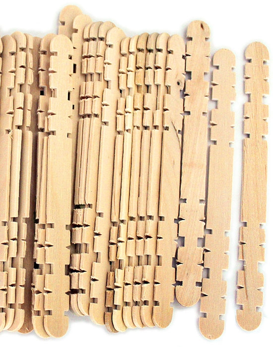 4.5 Inch Notched Wood Hobby Craft Sticks -Natural