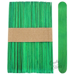 6 Inch Jumbo Colored Craft Sticks -Green
