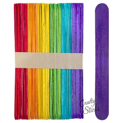 6 Inch Jumbo Colored Craft Sticks -Multi Color Pack
