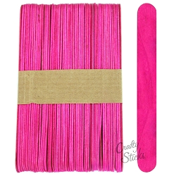6 Inch Jumbo Colored Craft Sticks -Pink