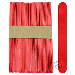 6 Inch Jumbo Colored Craft Sticks -Red