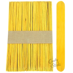 6 Inch Jumbo Colored Craft Sticks -Yellow