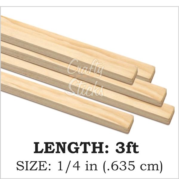 Square Natural Pine Wood Dowel, 1/4 x 36 Inch, Made in the USA
