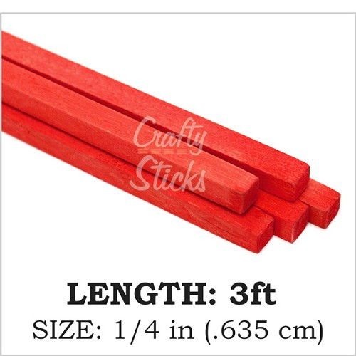 "Red, 1/4"" Square Wood Dowel -3' Length"
