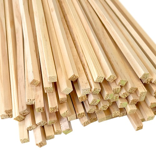 Square Pine Wood Dowel, 1/4 x 12 Inch, Made in the USA
