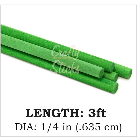 "Green, 1/4"" Round Wood Dowel -3' Length"