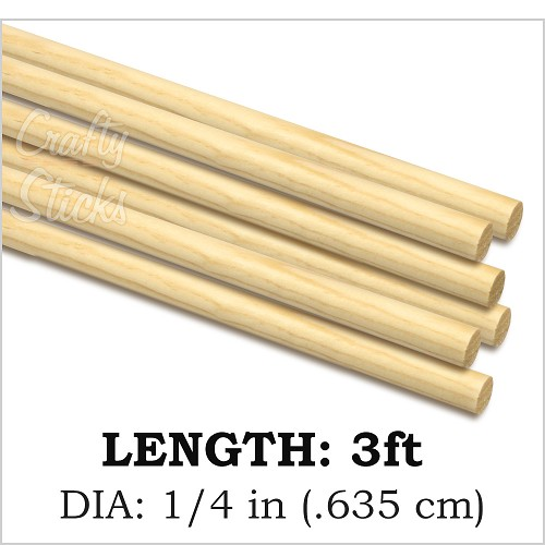 Round Natural Pine Wood Dowel, 1/4 x 36 Inch, Made in the USA