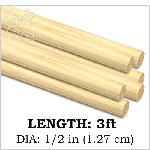 "1/2"" Round Wood Dowel -3' Length"