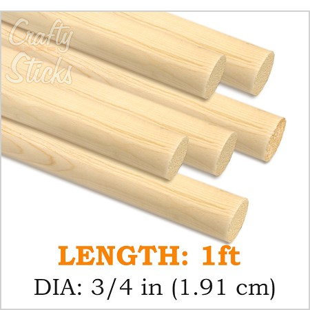 "3/4"" Round Wood Dowel -1' Length"