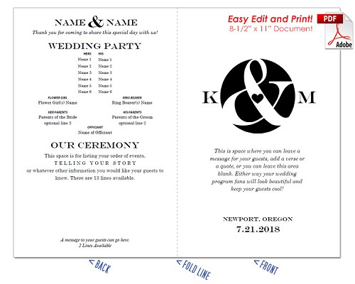 Ampersand and Heart Wedding Program Fan -Cool Colors