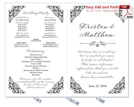 border scrolls 2 wedding program fan cool colors