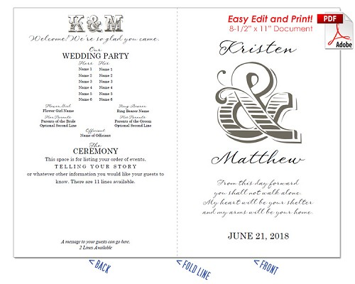 Casual Ampersand Wedding Program Fan -Cool Colors