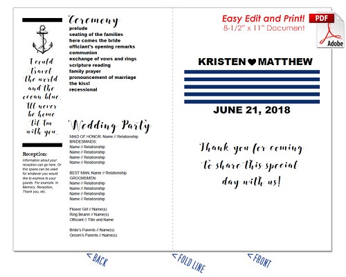 Nautical Stripes Wedding Program Fan -Warm Colors