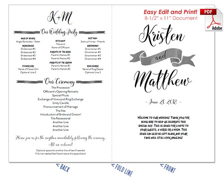 nautical watercolor wedding program fan warm colors