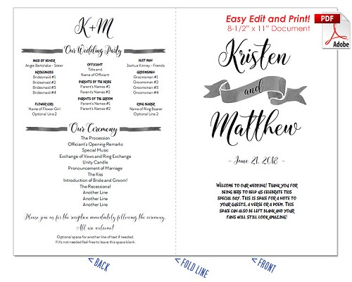 Nautical Watercolor Wedding Program Fan -Warm Colors