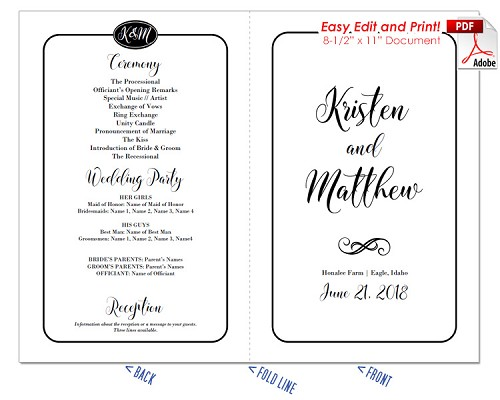 Simple Border Script Wedding Program Fan -Warm Colors