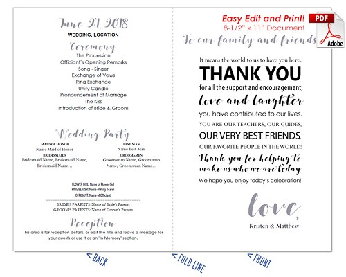 Thank You Message Wedding Program Fan -Cool Colors