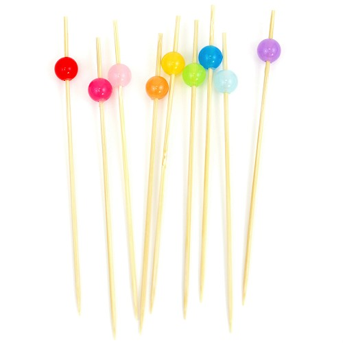 Beaded Bamboo Picks Multi Color