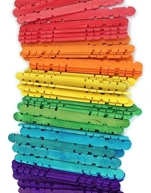 4.5 Inch Notched Wood Hobby Craft Sticks -Multi Color Pack