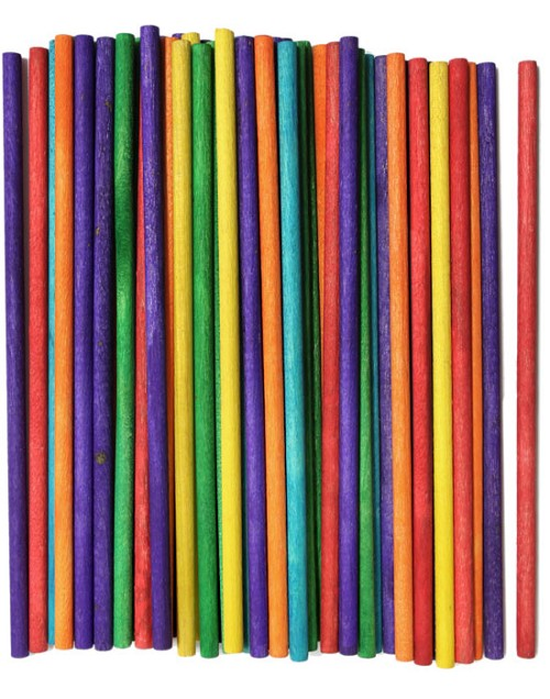 "6"" Length Multi-Colored Wood Craft Dowels"